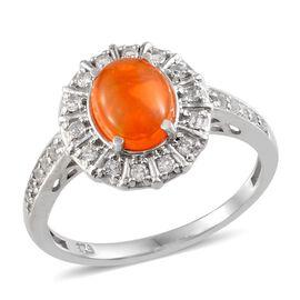 Orange Ethiopian Opal (Ovl 0.75 Ct), White Topaz Ring in Platinum Overlay Sterling Silver 1.150 Ct.