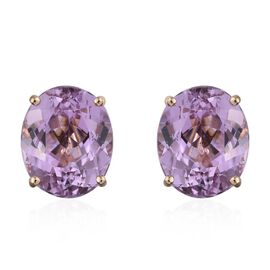 ILIANA 18K Yellow Gold 11.25 Carat Kunzite Oval Solitaire Stud Earrings with Screw Back.