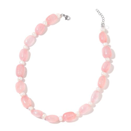 Rare AAA Tumble Rose Quartz and Fresh Water White Pearl Necklace (Size 20 with 1 inch Extender) in Silver Tone 552.000  Ct.