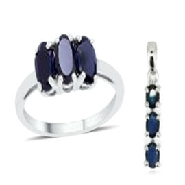 Diffused Blue Sapphire (Ovl) Trilogy Ring and Pendant in Sterling Silver 2.500 Ct.