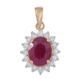 ILIANA 18K Y Gold Burmese Ruby (Ovl 3.00 Ct), Diamond Pendant 3.500 Ct.