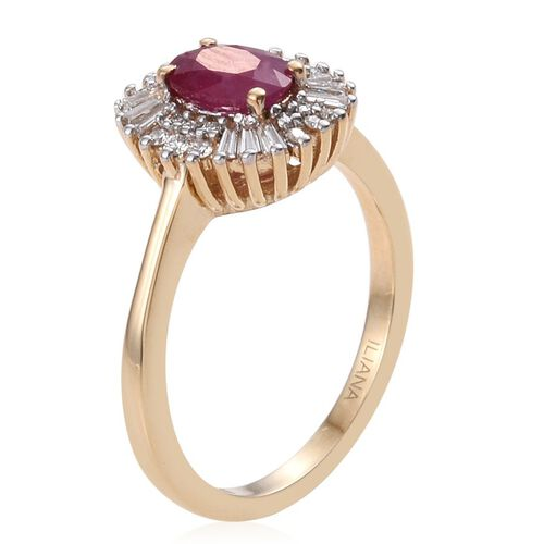 ILIANA 18K Yellow Gold  AAA Pigeon Blood Burmese Ruby Halo Ring  Diamond SI G-H. 1.35 Carat