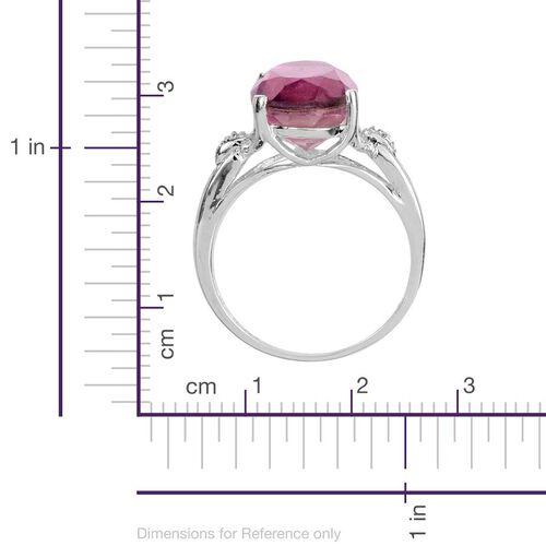 Kunzite Colour Quartz (Ovl 5.50 Ct), Diamond Ring in Sterling Silver 5.510 Ct.