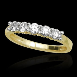 ILIANA 18K Y Gold IGI Certified Diamond (Rnd) (SI/ G-H) 5 Stone Ring 0.500 Ct.
