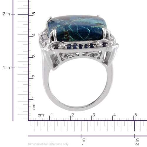 Table Mountain Shadowkite (Cush 26.50 Ct), Kanchanaburi Blue Sapphire Ring in Platinum Overlay Sterling Silver 27.000 Ct.