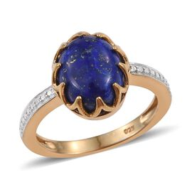 Lapis Lazuli (Ovl) Sollitaire Ring in 14K Gold Overlay Sterling Silver 4.250 Ct.