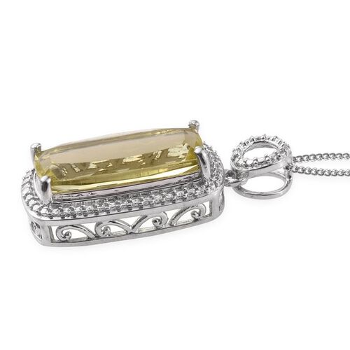 Natural Ouro Verde Quartz (Cush) Solitaire Pendant With Chain in Platinum Overlay Sterling Silver 6.000 Ct.