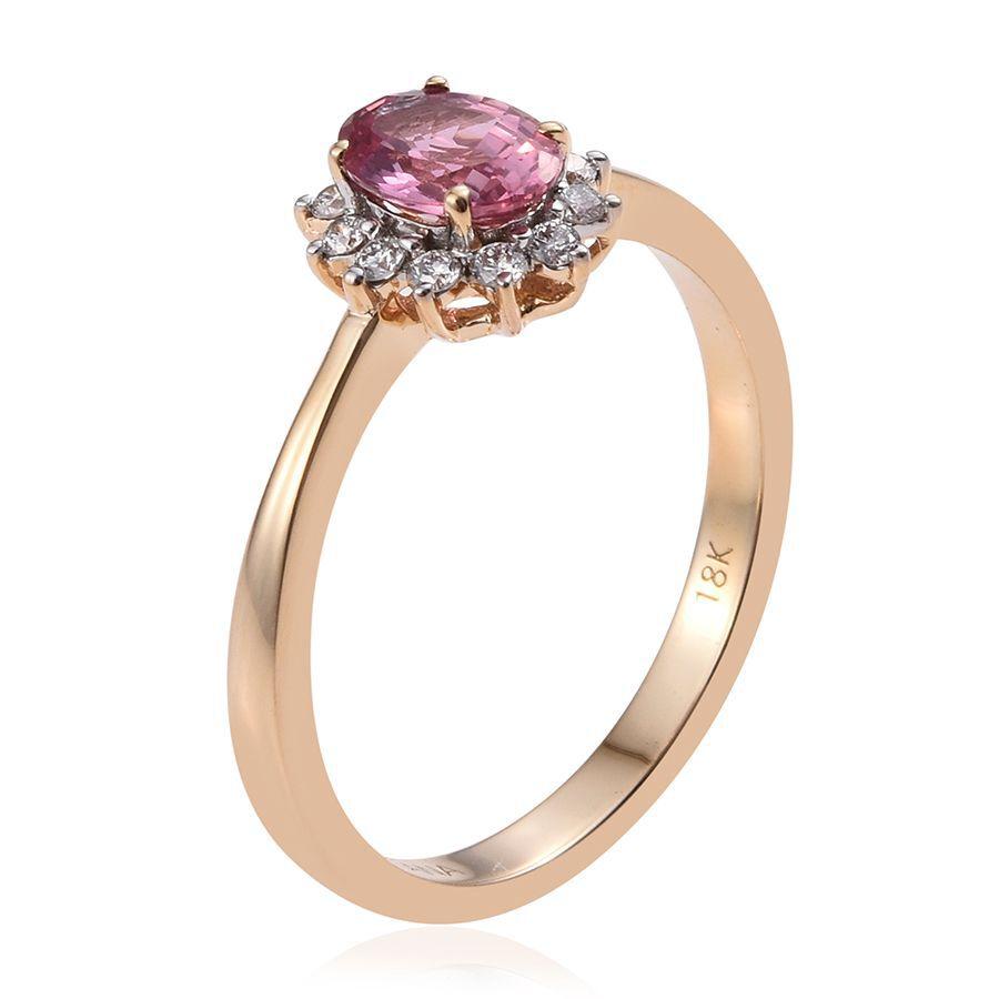 ILIANA 18K Yellow Gold Padparadscha Sapphire Oval 0 85 Ct Diamond SI G H