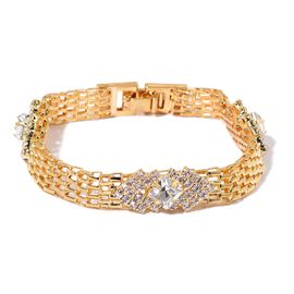 AAA White Austrian Crystal and Simulated White Diamond Retro Style Bracelet (Size 7.5) in Yellow Gold Tone