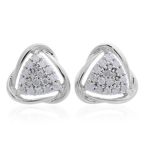 9K White Gold 0.50 Carat SGL Certified Diamond I3/G-H Trillion Cluster Stud Earrings (with Push Back)