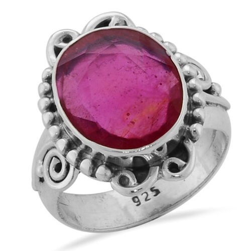 Enhanced Mozambique Ruby (Ovl) Ring in Sterling Silver  6.00 Ct.