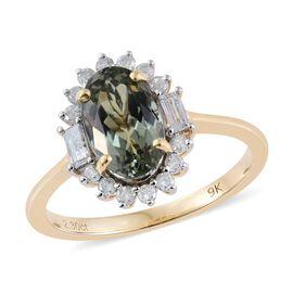 9K Yellow Gold 2.90 Carat AA Natural Green Tanzanite Ring With Diamond I3/G-H