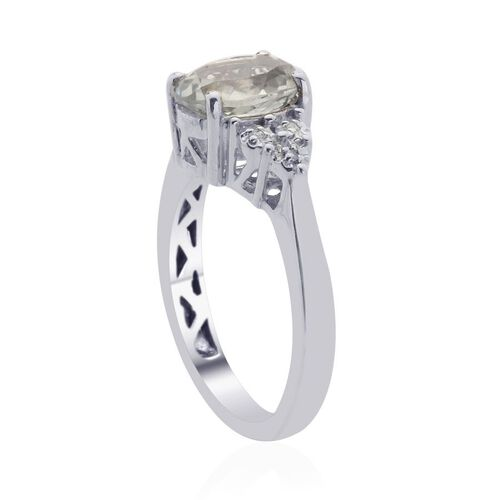 Green Sillimanite (Ovl 1.75 Ct), Diamond Ring in Platinum Overlay Sterling Silver 1.770 Ct.