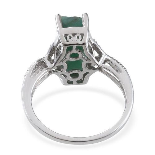 Brazilian Emerald (Cush) Solitaire Ring in Platinum Overlay Sterling Silver 5.000 Ct.