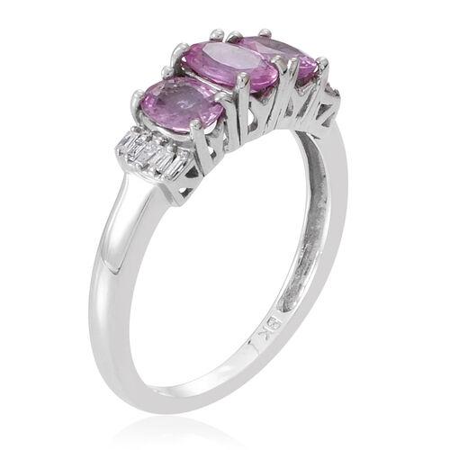 9K W Gold AAA Pink Sapphire (Ovl 0.50 Ct), Diamond Ring 1.250 Ct.