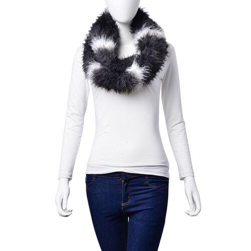 Faux Fur Black, Grey and White Colour Scarf (Size 58x15 Cm)