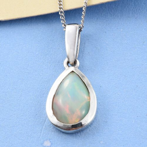 Ethiopian Welo Opal (Pear) Solitaire Pendant With Chain (Size 18) in Platinum Overlay Sterling Silver 1.250 Ct.