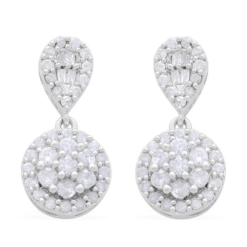 9K White Gold SGL Certified Diamond (Rnd) (I3 G-H) Earrings 1.000 Ct.
