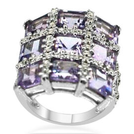 Rose De France Amethyst (Sqr 9.00 Ct), White Topaz Ring in Sterling Silver 9.060 Ct.