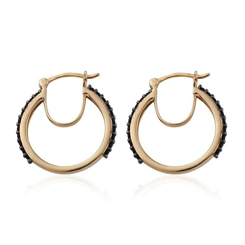 Boi Ploi Black Spinel (Rnd) Hoop Earrings (with Clasp) in 14K Gold Overlay Sterling Silver 1.250 Ct.