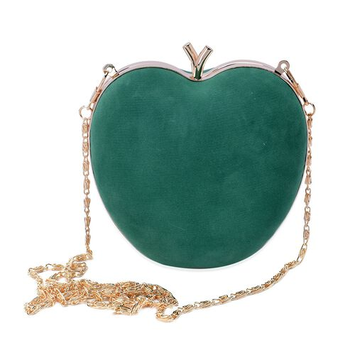 Amour Velvet Green Colour Apple Clutch With Removable Golden Chain (Size 58x13x12.5 Cm)