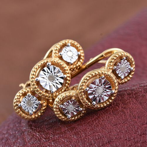 Diamond (Rnd) Earrings (with French Clip) in 14K Gold Overlay Sterling Silver 0.060 Ct.