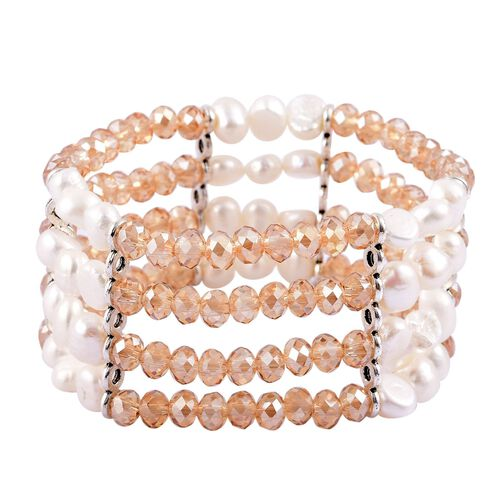 Fresh Water White Pearl and Simulated Champagne Diamond Stretchable Bracelet (Size 7) in Silver Tone