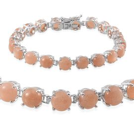 Morogoro Peach Sunstone (Rnd) Bracelet (Size 7.25) in Platinum Overlay Sterling Silver 24.000 Ct.