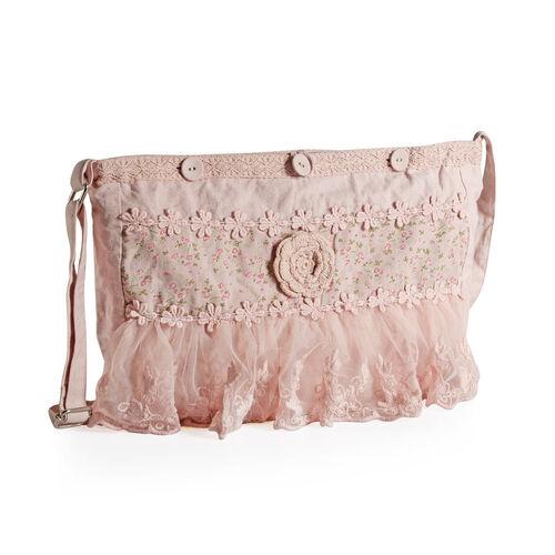100% Cotton Floral Embroidered Light Pink Colour Shoulder Bag with Lace (Size 35x30 Cm)
