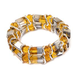 Yellow and White Glass Stretchable Bracelet (Size 7.5) in Silver Tone