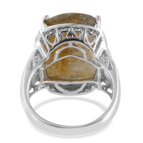 Labradorite (Cush 18.00 Ct), Diamond Ring in Platinum Overlay Sterling Silver 18.050 Ct.