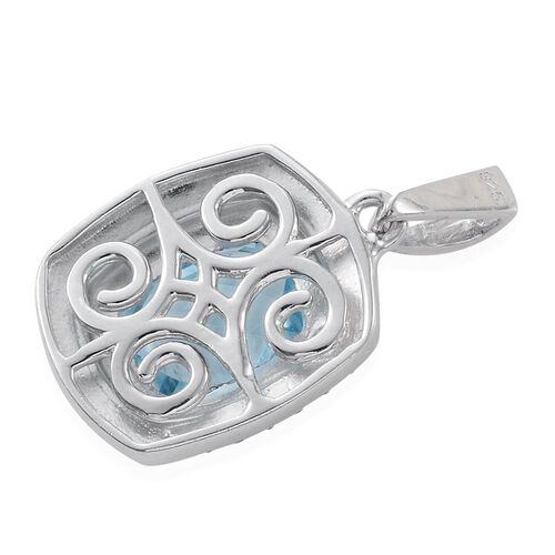 Sky Blue Topaz (Cush) Solitaire Pendant in Platinum Overlay Sterling Silver 3.500 Ct.