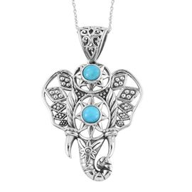 Arizona Sleeping Beauty Turquoise (Rnd) Elephant Head Pendant with Chain in Sterling Silver 1.570 Ct.