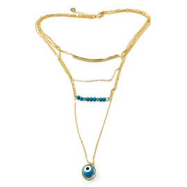 (Option 1) Blue Howlite and Murano Glass Necklace (Size 18 with Extender) in ION Plated Gold with Stainless Steel