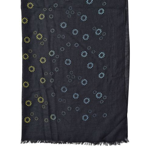 Yellow, Blue and Multi Colour Fireworks Pattern Black Colour Scarf (Size 180x70 Cm)