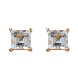 Espirito Santo Aquamarine (Sqr) Stud Earrings (with Push Back) in 14K Gold Overlay Sterling Silver 2.000 Ct.