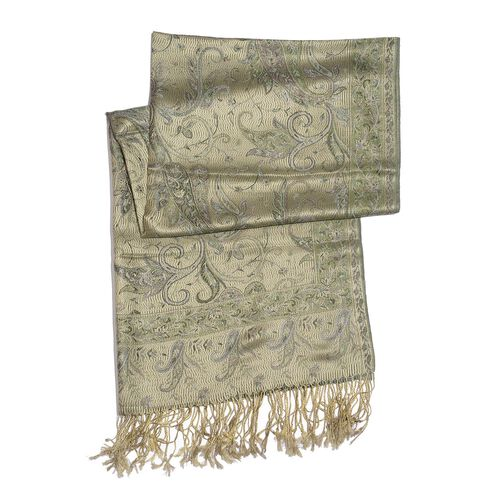 SILK MARK - 100% Superfine Silk Lime Green and Multi Colour Paisley and Leaves Pattern Jacquard Jamawar Shawl Scarf with Fringes (Size 180x70 Cm) (Weight 125-140 Grams)