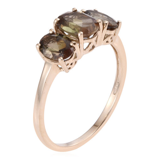 9K Y Gold Brazilian Andalusite (Ovl 1.00 Ct) 3 Stone Ring 2.500 Ct.