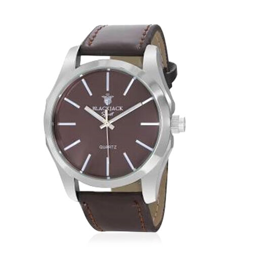 BLACKJACK Japanese Movement Chocolate Colour Dial Water Resistant Watch in Silver Tone with Stainless Steel Back and Genuine Leather Strap