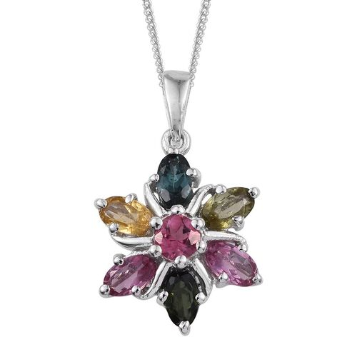 Rainbow Tourmaline (Rnd) Floral Pendant with Chain in Platinum Overlay Sterling Silver 1.750 Ct.