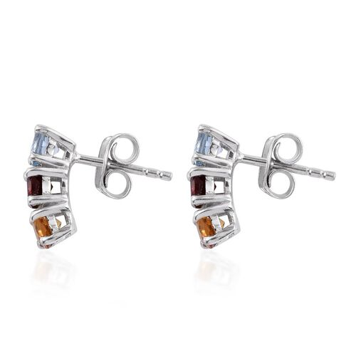 Mozambique Garnet (Rnd), Sky Blue Topaz and Citrine Earrings (with Push Back) in Platinum Overlay Sterling Silver 1.500 Ct.
