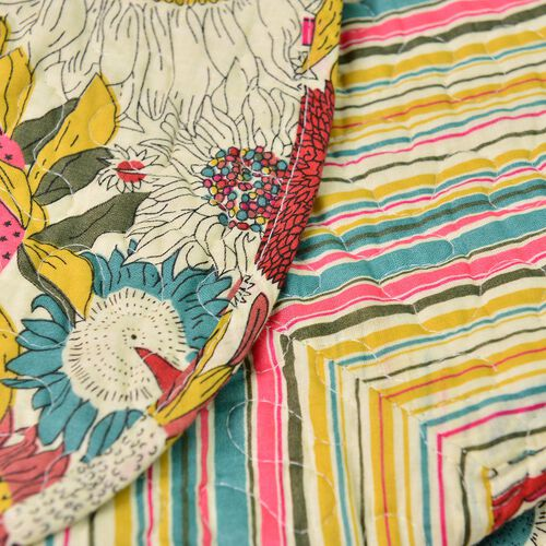 100% Cotton Yellow, Red, Blue and Multi Colour Floral Printed Quilt (Size 250X220 Cm) with 2 Shams (Size 70X50 Cm)