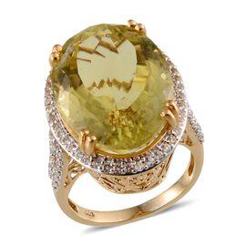 Brazilian Green Gold Quartz (Ovl 37.00 Ct), White Topaz Ring in 14K Gold Overlay Sterling Silver 38.250 Ct.
