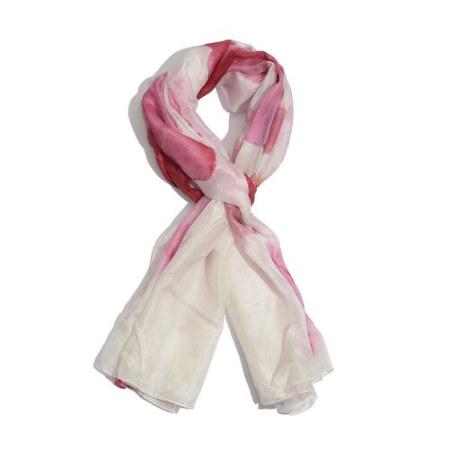 Winter Special 100% Mulberry Silk White, Pink and Multi Colour Floral Pattern Scarf (Size 175x100 Cm)