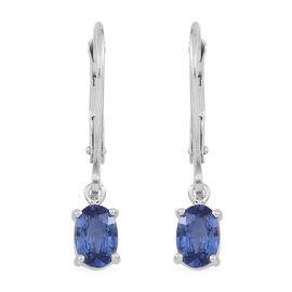 ILIANA 18K W Gold AAA Ceylon Sapphire (Ovl) Lever Back Earrings 1.000 Ct.