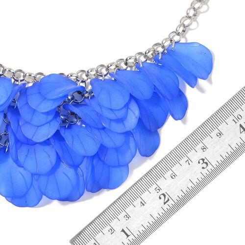 Blue Colour Flower Petals Necklace (Size 20 with 2.5 inch Extender) in Silver Tone