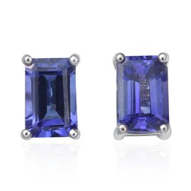 RHAPSODY 950 Platinum 1.25 Carat AAAA Tanzanite Octagon Solitaire Stud Earrings with Screw Back.