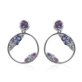 Kimberley Rose De France Amethyst (Rnd), Bondi Blue Tanzanite, Espirito Santo Aquamarine, Tanzanite and Pink Sapphire Earrings (with Push Back) in Platinum Overlay Sterling Silver 2.000 Ct.