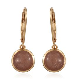 Morogoro Peach Sun Stone (Rnd) Lever Back Earrings in 14K Gold Overlay Sterling Silver 4.250 Ct.