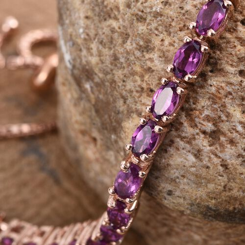 Rare Mozambique Grape Colour Garnet (Ovl) Bracelet (Size 6 to 8 Inch) in Rose Gold Overlay Sterling Silver 4.750 Ct.